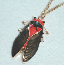 Hot Fashion Vintage Charm Retro Bronze Tone Metal Insect Cicada Pendant Necklace
