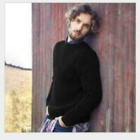Autumn Casual Solid Crew Neck Mens Sweaters Long Sleeve Loose Pullover Knit Tops