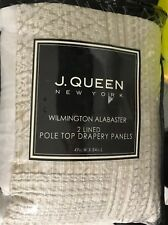 J. Queen Wilmington Alabaster Jacquard Lined Drapery Curtain Panels Set Of Two 2