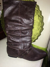 LADIES WOMENS FLAT SOLE CALF STRAPS studded brown UK 7 41 FAUX LEATHER BOOTS NEW