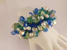 BLUE GREEN CRYSTAL PEARL GOLD TONE STRETCH BRACELET STATEMENT