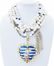 Betsey Johnson SHIP SHAPE Sailor Pin-Up Girl Large Heart Faux Pearl Necklace