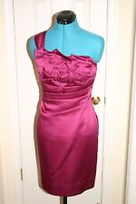 Phoebe Couture ROSE Satin DRESS Ruffled One Shoulder COCKTAIL Wedding PROM Sz 4