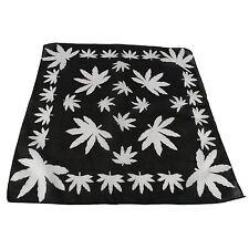 Cannabis Leaf Bandana Hair Tie Neck Wrist Band (black/white)