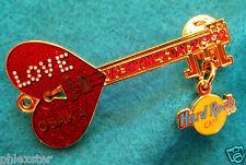 OSAKA VALENTINE'S DAY RED LOVE HEART DOOR KEY GUITAR 2002 Hard Rock Cafe PIN LE