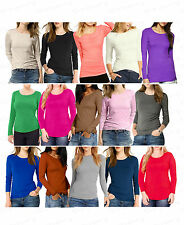 Ladies Girls New Plain Long Sleeve Stretch Scoop Neck Top T-Shirt Girl Size 8-22
