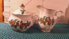 Sugar and Creamer Set, PARMA, White Porcelain, Holly and Ivy, Gold Trim