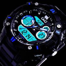 Q&Q by Citizen AD- Digital Herren Armband Uhr Schwarz Blau Chronograph 10 Atm A1