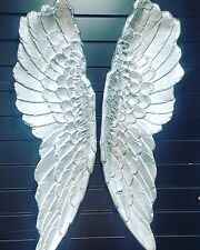 X Large set, 105cm Silver Angel Wings, Wall Mounted Art Decor Hanging Home