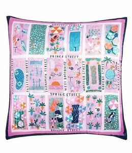 """Kate Spade Rooftop Scene 20"""" Square Silk Decorative Pillow NY Street Broadway"""