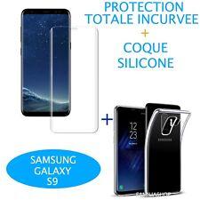 Film Incurvé Intégral Total Samsung Galaxy S9 + Coque silicone transparente