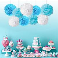 9PCS Paper Flower Poms Ball Round Party Wedding Event Festival DIY Decor 8/10''