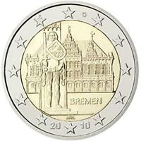 Germania 2010 Bremen - Mairie De Brema Et Statue De Rolando Monnaie: A