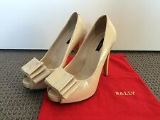 BALLY Cream Patent Leather Peep Toe Pumps 36.5 (US 6)