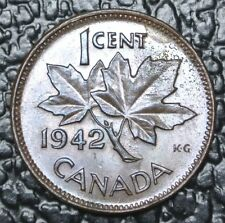 OLD CANADIAN COIN 1942 - ONE CENT - George V - WWII era - Nice HIGH GRADE