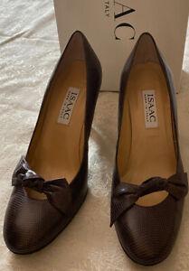 Isaac Mizrahi Womens 6.5 M Italy Venus Lizard Brown Print high Heel Shoes bow