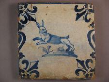 Antique Dutch Delft Tile hare Baluster rare 17th century - free shipping