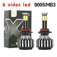 6 Sides 9005 HB3 LED Headlight Kit High Low Beam Bulb 120W 6000K 8000K Lighting