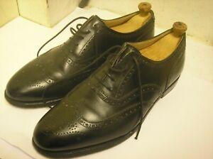 Crockett & Jones Black Leather Brogue Canterbury Shoes Men's UK 9