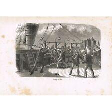 GRAVURE Rupture du Câble Transatlantique sur le Great-Eastern vers 1865 XIXè S