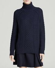 $395 New VINCE Cable-Knit Turtleneck Sweater Navy Blue Wool Alpaca SOLD OUT