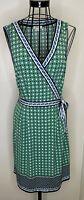 Ladies MAX STUDIO  Black Green Blue Art Deco Wrap Summer Dress Large 16 18