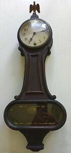 "antique new haven clock company banjo clock 26"" tall w/5 1/2"" face"