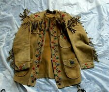 Antique Native American Indian Brain Tanned Moose Hide Beaded Fringed Jacket