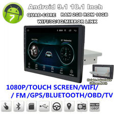 "Single Din Adjustable Android 9.1 10.1"" Car Stereo Radio GPS Nav Wifi BT DAB OBD"