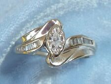 14K White Gold Wedding Ring, 15 Diamonds, TCW 1/3, size 7.25