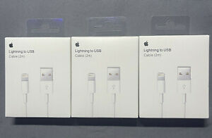 3 PACK New Original Apple iPhone Charger Cable 2M / 6ft Lightning Cord OEM