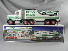 1991 HESS Gasoline Toy Hauler Truck & Race Car Push Motor Real Head Tail Lights