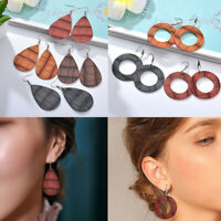 Fashion Women Embossed Leather Waterdrop Round Pendant Long Dangle Hook Earrings