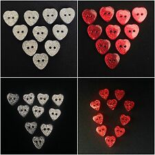 Sparkly Glitter Heart Shaped Two Hole Buttons X10 Choice of Colours & Sizes