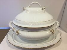 VINTAGE HEREND ROSES XXL OVAL SOUP TUREEN AND TURKEY PLATTER,MINT CONDITION