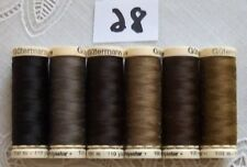 6 brown colors GUTERMANN 100% polyester thread 110 yds each spool (#28)