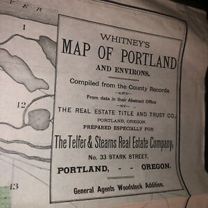 BIG ORIGINAL WHITNEY'S MAP OF PORTLAND OREGON and ENVIRONS UNION PACIFIC 1889