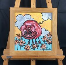 Pig, Original Acrylic Painting on Board with Oak handmade frame