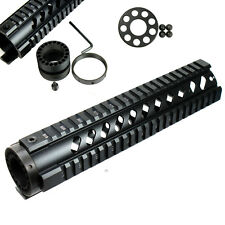 """10"""" Free Float Hand guard Picatinny Quad Rail with Front End Cap for RPR Black"""