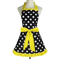 Aspire Women Full Apron with 2 Pockets Tie Back Retro Polka Dot for Cafe Kitchen
