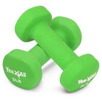 3 Lbs Neoprene Coating Dumbbells Pair (Total 6 Lbs) Hex Hand Weights Home Gym