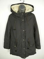 WOMENS PEACOCKS GREY ZIP/BUTTON UP HOODED PADDED CASUAL PARKA COAT JACKET UK 10