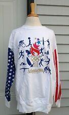 Vintage 1996 Atlanta Olympics Hanes White Sweatshirt USA Flag Flame 100 Yrs XL