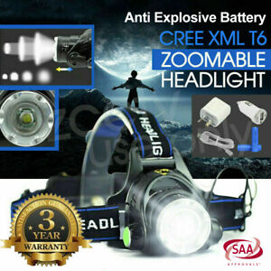 100000LM Rechargeable Headlight Zoomable LED Headlamp CREE XML T6 Head Torch AU