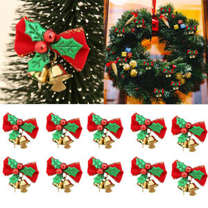 10x Red Fabric Bows With Bells Decorations Christmas Xmas Party Tree Ornament