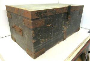 Antique wooden chest ,trunk, box storage original patina navy chest
