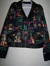 Disney-signed Girls faux leather Zippered Jacket Sz M 10 /12 Nwot
