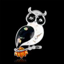 Animal Pin and Brooch Black owl shell Rhodium Plated
