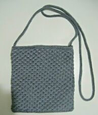 The Sak Gray Woven Crochet Knit Small Shoulder Bag Crossbody Purse