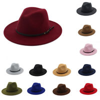 Women's Wool Felt Outback Hat Panama Hat Wide Brim Women Belt Buckle Fedora Hats